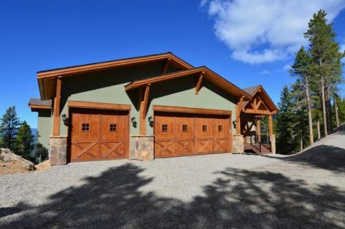 Garage with Custom Cedar Doors