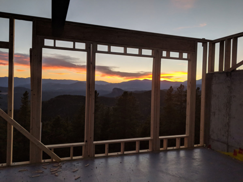 Sunset through the rec room window openings