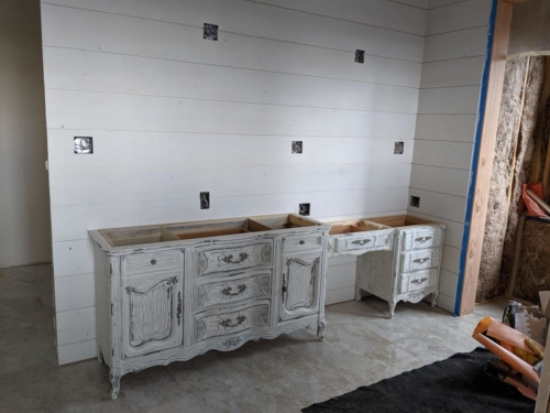 Master Bathroom DIY Repurposed Furniture with Distressed Finish