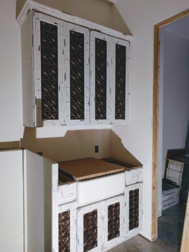 Laundry Room Cabinets with DIY Copper Tile Doors