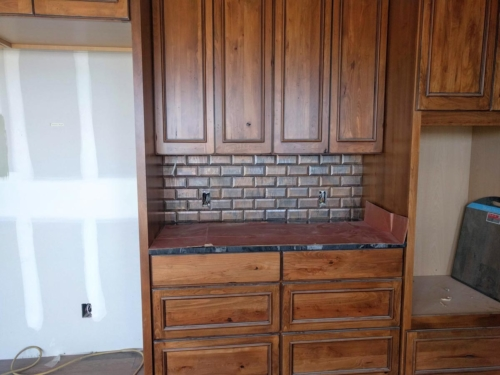 Copper Backsplash Subway Tile with Kitchen Wall Cabinets