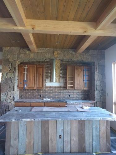 Kitchen Hearth Cabinets & Barnwood Island