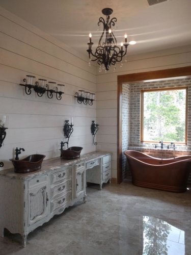 Master Bathroom Lighting and Copper Tub